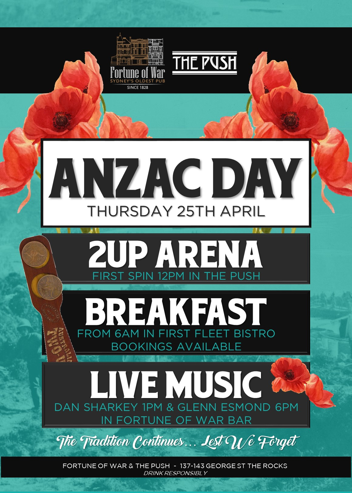 ANZAC Day Fortune of War Sydney's Oldest Pub